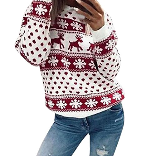 SEWORLD Women Xmas Christmas Floral Print Long Sleeve Blouse Top Sweatshirt