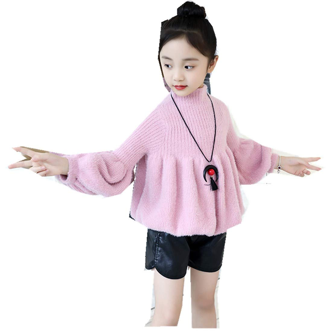 Girls Autumn Winter Thick Sweater Lantern Sleeves Ladies Princess Kids Clothing