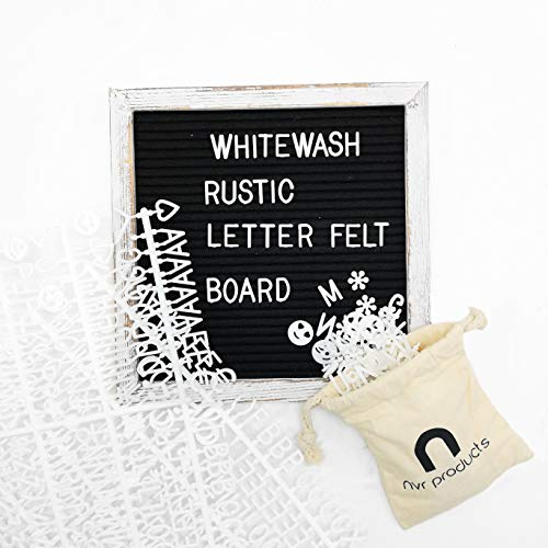 Black Felt Letter Board (10 x 10 inches) by NVR Products || Rustic Pine Wood Frame (Whitewashed). Changeable Letter Boards Include a Mix of 360 White Letters, Numbers, Symbols.