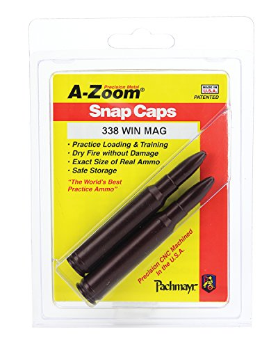 A-ZOOM Rifle Metal Snap Caps for 338 Winchester Magnum (2-Pack) - 338 Winchester Magnum Rifle