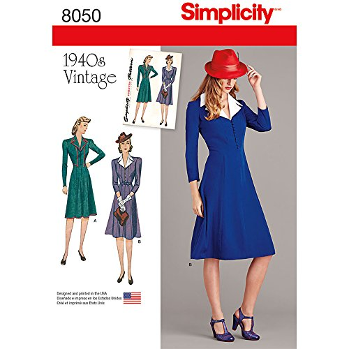(Simplicity 8050 1940's Vintage Fashion Women's Collared Dress Sewing Pattern, Sizes 6-14)