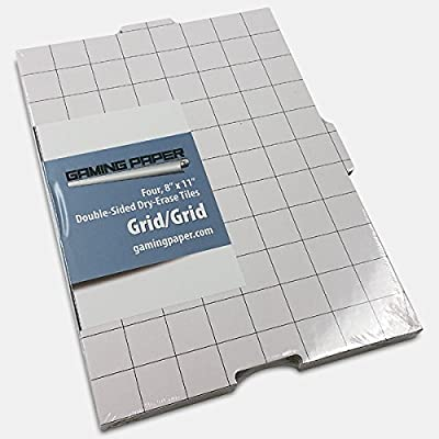 "4 Pack Gaming Paper Wet/Dry Erase Tiles 1"" Grid: Toys & Games"