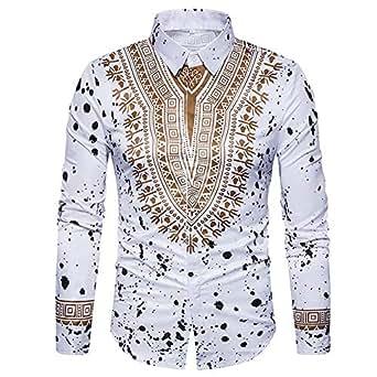 Yvelands African Print T-Shirt Hombres Ocasionales de Moda de Moda impresión Pullover de Manga Larga Camisa Top Blusa Camisas de Vestir Ropa Vestido de Fiesta de Verano otoño
