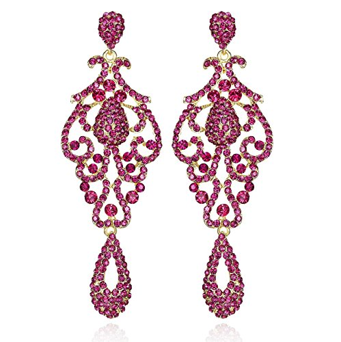 Large Pageant Austrian Crystal Rhinestone Chandelier Dangle Earrings Prom E2090 (Pink)