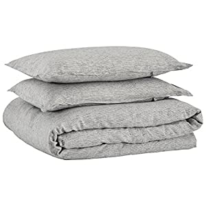 Stone & Beam Wooden Button Linen Duvet Cover Set, Full/Queen, Grey
