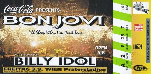Bon Jovi 1993 Sleep Tour Concert Ticket Billy Idol Vienna