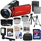 Bell & Howell Fun Flix DV50HD 1080p HD Video Camera Camcorder (Red) + 32GB + Battery + Charger + Case + Tripod + LED + Filters + Tele/Wide Lens Kit