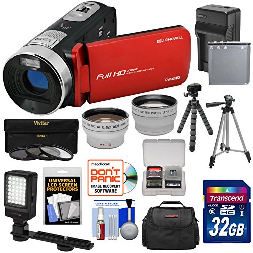 Bell & Howell Fun Flix DV50HD 1080p HD Video Camera Camcorder (Red) + 32GB + Battery + Charger + Case + Tripod + LED + Filters + Tele/Wide Lens Kit by Bell + Howell