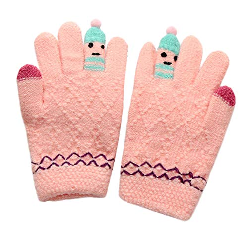 - Clearance!! Unisex Girls Boys Warm Magic Stretchy Gloves Cute Thicken Stitching Cartoon Windproof Knitted Snow Mittens (Pink, 3-8 Years)