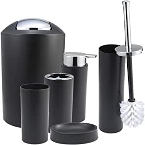 iMucci Black 6pcs Bathroom Accessories Set - with Trash Can Toothbrush Holder Soap Dispenser Soap and Lotion Set Tumbler Cup