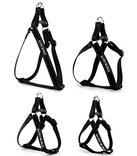 Nylon Two Step Dog Harness (Best No-Pull, Step-In Puppy & Dog Harness, Adjustable & Reflective, Nylon, Easy Walk, Comfort Harness by AJ Pet World, No-Choke, Durable, Safety & Training Halter Harness (Small, Blazin' Black))