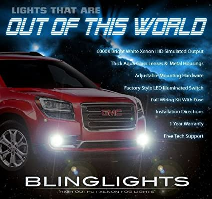 amazon com: 2013-2016 gmc acadia xenon halogen fog lamp driving light kit +  harness & switch: automotive
