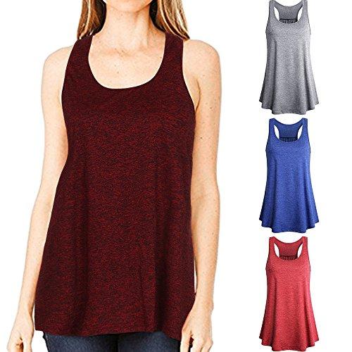 Rond De Yoga Col Blouse Tops Sport Manadlian Débardeur Camisole En Manche Femme shirt Chemisier Sans T Gilet Cami Rouge Loose Coton Été 6vxqPwp