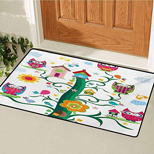 GUUVOR Owl Universal Door mat Owls in The Tree with Crazy Eyes Mosaic Dots Magic in The Air Nocturnal Wise Mascot Door mat Floor Decoration W47.2 x L60 Inch Multicolor