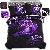 Black and Purple Duvet Cover Home4Joys 3D Purple Flower Bedding Sets Rose Black Duvet Cover with Pillows Case(2PCS) Queen Size Bed Comforters Covers