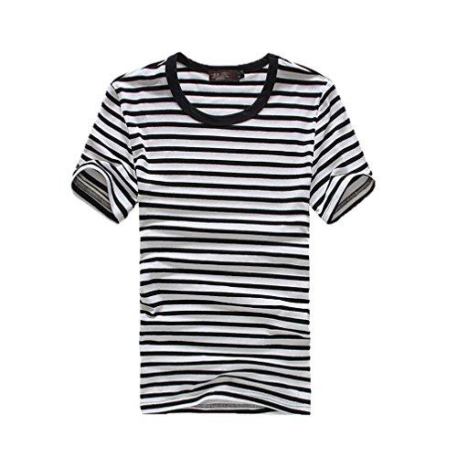Men Fashion Striped Short Sleeve Round Neck Slim Overpull Top T-Shirt Shirt (L:chest:37.80