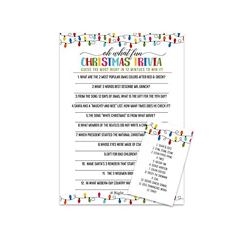 Festive Christmas Party Trivia Game Card (25 Pack) Great for Holiday Parties and Family Gatherings - 12 Minute (Trivia Christmas On)