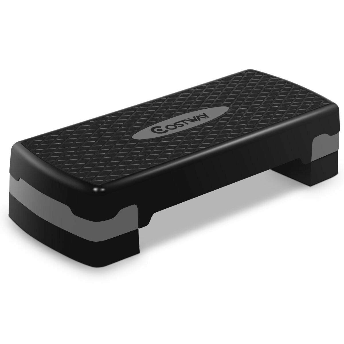 COSTWAY 27 Fitness Platform Aerobic Stepper with Risers-Adjustable from 4 to 6 Exercise Stepper Home Gym