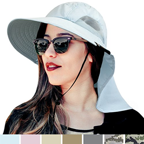 SUN CUBE Premium Outdoor Sun Hat for Women | Sun Protection Hat for Hiking, Fishing, Safari | Wide Brim Cap with Neck Flap and Adjustable Chin Cord, UPF 50+ | Foldable, Breathable (Light Blue)