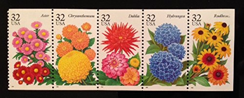 Stamp Booklet Pane (Summer Flowers Booklet Pane - 32c US Postage Stamps - Mint Never Hinged)