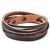 Chic Exquise Designs Handmade Genuine Vintage Leather Wrist Cuff Wrap Bracelet Adjustable (A: 1 Brown)