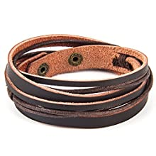 Dark-brown leather men's bracelet