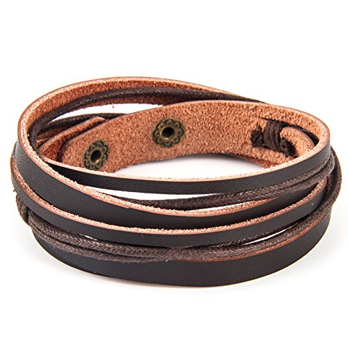 Handmade Genuine Vintage Leather Wrist Cuff Wrap Bracelet Adjustable (A: 1 Brown) (Mens Genuine Leather)