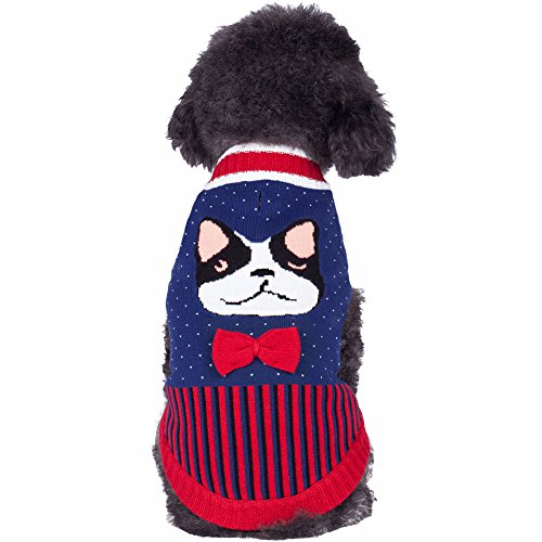 Blueberry Pet Fancy Dog Sweater With Cute French Bulldog and Bowtie