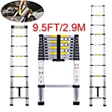 Telescopic Ladder Jason 9.5FT | 2.9M High Quality Max load 330lbs Aluminum Ladder Extendable Ladder With EN131 and CE Standard [Step A +++](9.5TF/2.9M)