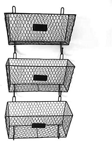 HOBBYN Metal Rack Basket,3 Tier Wire Frame Wall Mountable Metal Kitchen Spice Rack, Countertop Storage Shelves