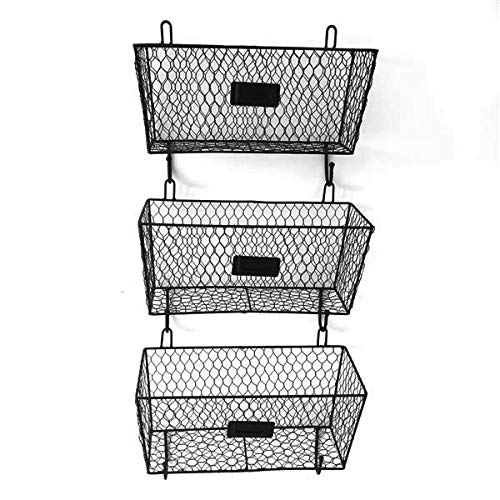 HOBBYN Metal Rack Basket,3 Tier Wire Frame Wall Mountable Metal Kitchen Spice Rack, Countertop Storage Shelves (Shelf With Wall Baskets Wicker)