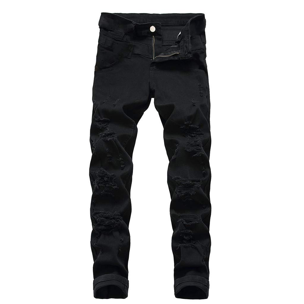 Wowpower Mens Fashion Slim Fit Personality Stretchy Casual Ripped Jeans Denim Pants