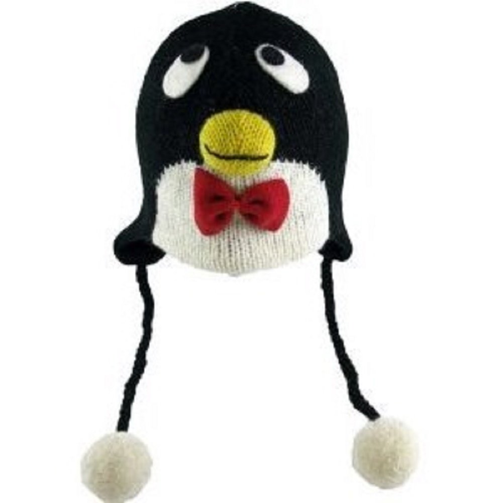 faa2edbb2ae Amazon.com  Kid Child Wool PENGUIN Beanie Hat Fleece Lined Earflaps Poms  ONE SIZE Black  Everything Else