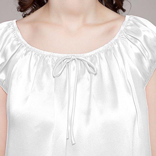 Knie LilySilk Damen Seiden 22 Nachtkleider Weiß Lang Nachthemd Momme Nachtwäsche q661rt