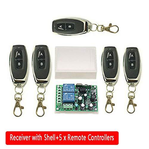 5 Controladores a Distancia Mando a Distancia inal/ámbrico 5 mandos a Distancia 1 Receptor con Carcasa transmisor Receptor para Puerta de Garaje//Portal de Alarma.