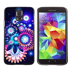 Licase Hard Protective Case Skin Cover for Samsung Galaxy S5 - Colorful Abstract Neon Flowers