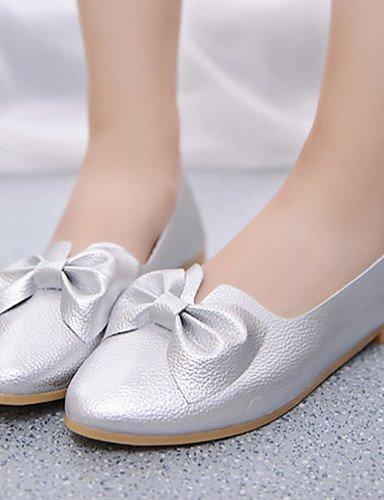 ZQ Zapatos de mujer - Tacón Plano - Comfort - Mocasines - Exterior / Vestido / Casual - Semicuero - Negro / Blanco / Plata , black-us7.5 / eu38 / uk5.5 / cn38 , black-us7.5 / eu38 / uk5.5 / cn38 silver-us8 / eu39 / uk6 / cn39