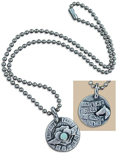 Equestrian Protect This Rider Pewter Horse Pendant Necklace On Ball Chain Made In The (Pewter Horse Pendant)