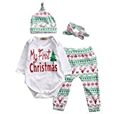 Baby Girls Christmas Xmas 4pcs Outfit Headband+Hat+Romper+Pants Leggings (S(0-3M), White)
