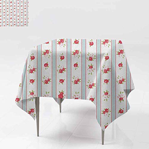 AndyTours Square Table Cloth,Shabby Chic,Vertical Borders Cute Rose Blooms Cottage Country Cabin Design,Dinner Picnic Table Cloth Home Decoration,54x54 Inch Baby Blue Dark Coral Green