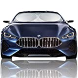 Magnelex Car Windshield Sunshade (Large) + Bonus Steering Wheel Cover Sun Shade. Premium Quality Reflective Polyester Material Blocks Heat & Sun and Keeps Your Vehicle Cool (63