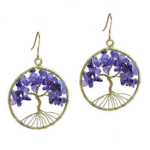Eternal Tree of Life Purple Fluorite Branch Brass Dangle Earrings ()