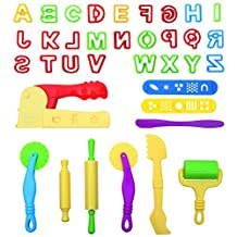 LoveS 36 Pcs Dough Tools Cutters Kit with Capital Letters and Extruder Machine, Random Color