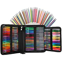 96 Color Artist Gel Pen Set, includes 24 Glitter Gel Pens 12 Metallic, 12 Neon, plus 48 Matching Color Refills, More Ink Largest Non-Toxic Art Neon Pen for Adults Coloring Books Craft Doodling Drawing