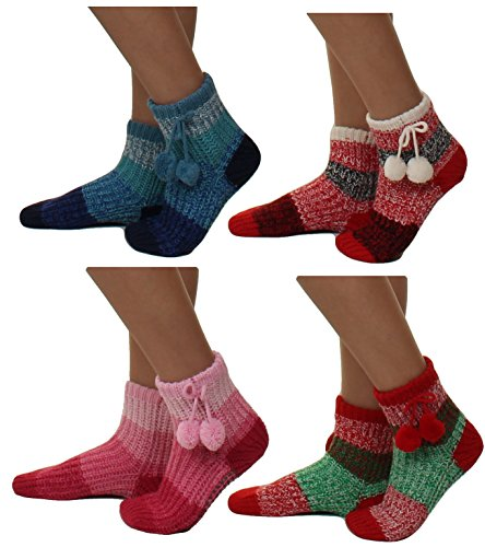 Black Knit 4 6 Non Socks Red Multi Pack Thick Pack Striped Slipper Soles with skid Color 6qdTBc