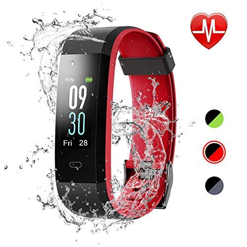 LETSCOM Fitness Tracker, Heart Rate Monitor IP68 Waterproof Color Screen Smart Watch, Activity Tracker Sleep Monitor Step Calorie Counter Pedometer Watch for Women Men ()