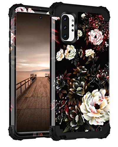 Lontect for Galaxy Note 10 Plus Case Floral 3 in 1 Heavy Duty Hybrid Sturdy Armor High Impact Shockproof Protective Cover Case for Samsung Galaxy Note 10 Plus/Note 10 Plus 5G, Black/White Flower