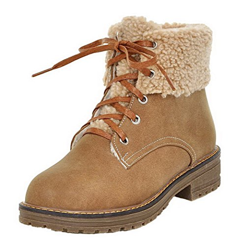Brun Tonda Chiusa Clair Stivali Shoes Invernali AgeeMi Donna Stringata Punta EuX144 Bassi fvAXqRwx
