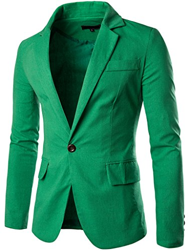 JASSYOY Mens Fashion Cotton Linen Lightweight One Button Blazer Jacket Green US L   Label XXXL