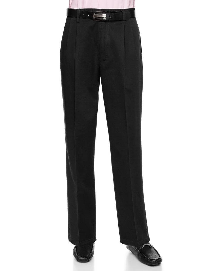 AKA Men's Wrinkle Free Work Pants Cotton Twill - Traditional Fit Slacks Pleat-Front Black 46 X-Long